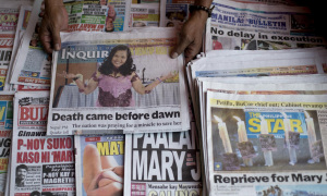 News about the execution came too late for many newspapers in the Philippines. (Image from The Guardian;  Noel Celis/AFP/Getty Images)